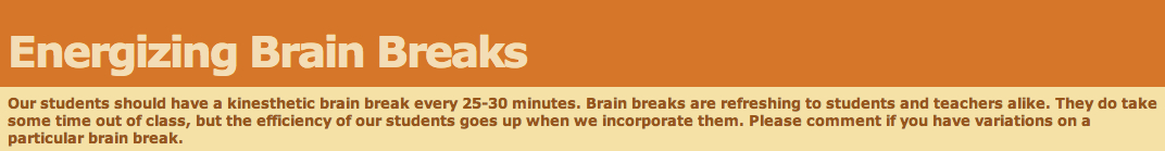 Energizing Brain Breaks banner