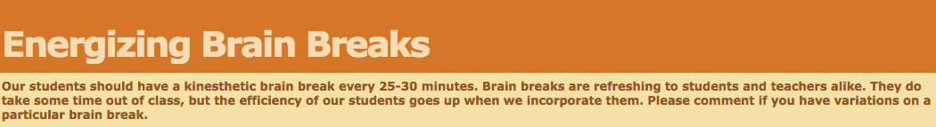 Energizing Brain Break banner